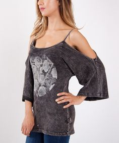 Look what I found on #zulily! Charcoal Rose Cutout Tee by Urban X #zulilyfinds