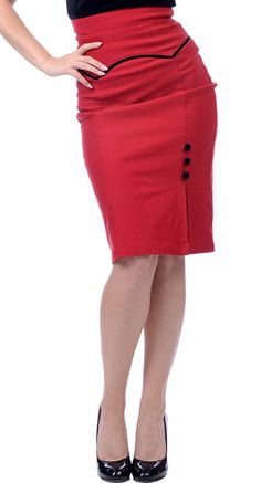 Steady Clothing Veronica Slit Skirt in Red   Blame Betty