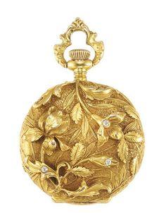 Art Nouveau Gold and Diamond Pendant-Watch 14 kt., subsidiary seconds - Swiss movement, c. 1900.