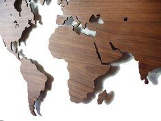 Wooden wall decoration / MyWorld by van DailyLivingatelier op Etsy, Map Wall Decor, Wooden Wall Decor, Wooden Walls, World Map Wall Art, Map Art, Off The Wall, Small World, Decor Interior Design, Wall Design