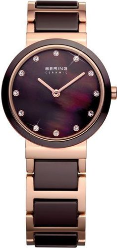 Bering Time Rose Gold Brown Ceramic Watch Swarovski Crystal 10729-765 Womens
