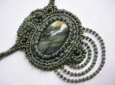 Labradorite.Green.Beaded necklace.Elegant by NickyNecklaces
