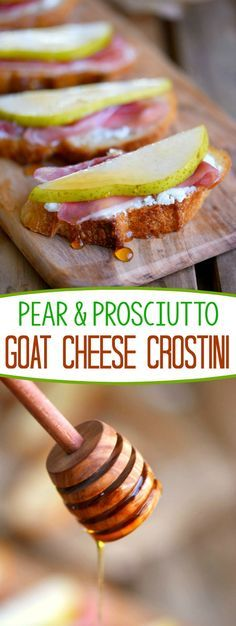 Get ready to thrill your taste buds with this amazing Pear and Prosciutto Goat Cheese Crostini! Delight your guests with this gorgeous appetizer at your next party!