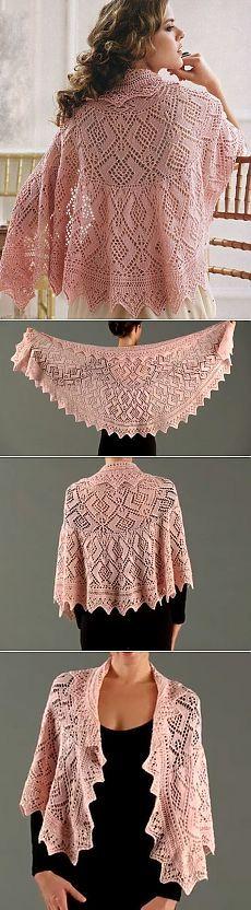 Вязание: ажурная шаль спицами
