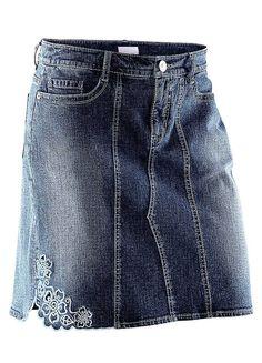 Embroided Denim Skirt