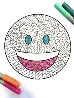 Smile Emoji - PDF Zentangle Coloring Page