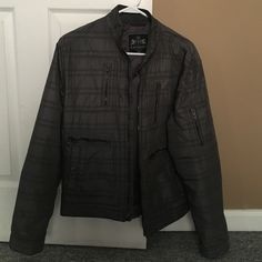 Gray men's spring jacket Gray checkered spring jacket with zipper accents. Worn only one spring season, great condition. Express Jackets & Coats