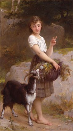 "Emile Munier (1840-1895) Young Girl with Goat & Flowers Oil on canvas 1890 75.565 x 42.545 cm (29¾"" x 16¾"")"