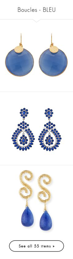 """""""Boucles - BLEU"""" by liligwada ❤ liked on Polyvore featuring jewelry, earrings, disc jewelry, blue quartz jewelry, earring jewelry, disc earrings, golden jewelry, joias, yellow drop earrings and 18k earrings"""
