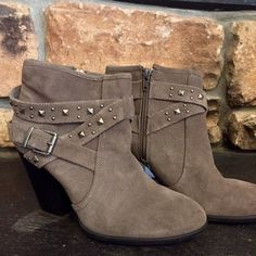 Julianne Hough for Sole Society booties Size 8.5 grey studded suede booties. Heel height: 3 inches - worn ONCE Sole Society Shoes Ankle Boots & Booties