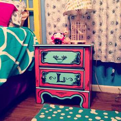 Cartoon style nightstand Julie painted. She's so amazing!