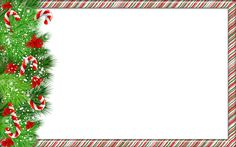 Christmas PNG Photo Frame with Candy Canes