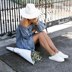 Lisa Hamilton of See Want Shop in our Off the Shoulder Chambray Dress