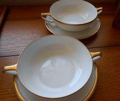 Two Krautheim Selb White Cream Soup Bowls With Underplates Heavy Gold Band Trim With Handles
