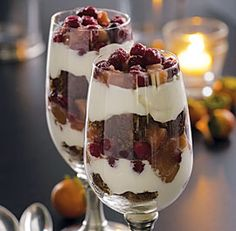 Ginger Cake Trifles with Caramelized Apples, Cranberries & Whipped Cream