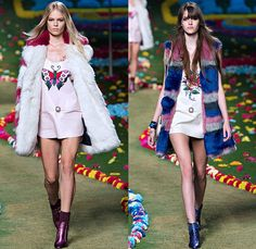 Tommy Hilfiger 2015 Spring Summer Womens Runway Catwalk Looks - Mercedes-Benz Fashion Week New York MBFW - Beatles Sgt. Peppers Lonely Hearts Club Band - 1970s Seventies Military Marching Band Bohemian Denim Jeans Patchwork Babydoll Vest Flare Stars Sweater Jumper Knit Skirt Dress Sequins Furry Sheer Chiffon Cardigan Pleats Halter Top Trench Coat Coatdress Stripes Bralette Crop Top Midriff Hotpants Scarf Guitar Cape