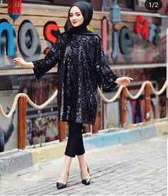 Image may contain: 1 person, standing, shoes and outdoor Abaya Fashion, Muslim Fashion, Suit Fashion, Fashion Dresses, Hijab Style Dress, Casual Hijab Outfit, Dress Outfits, Hijabi Gowns, Hijab Fashion Inspiration