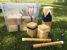 This game is made of wood and includes the following: one king kubb, ten blocks, six batons, and six stakes. Each piece is sanded, painted/stained, and weather treated. It also includes a set of laminated rules, care instructions, and storage tub. Great for backyard parties