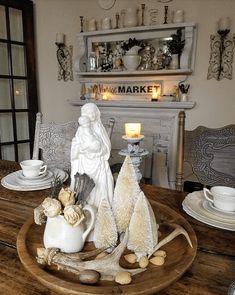 Stunning brocante shabby chic winter centerpiece Madonna and Child Jesus statue hygge rustic farmhouse neutral decor