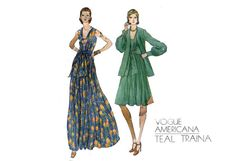 1970s Teal Traina Dress Pattern Evening Dress by PrettyPatternShop