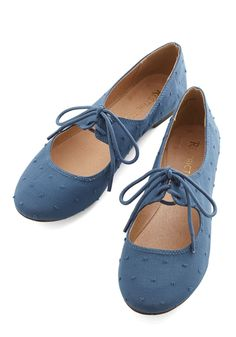 Blossoming Bouclé Flat. Give your look a flourish of subtle texture by tiptoeing into these fabric-wrapped flats by Restricted. #blue #modcloth