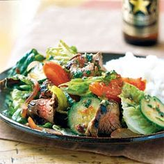 Budget-friendly flank steak paired with traditional Thai flavors gives you a filling salad for dinner that's less than 300 calories.