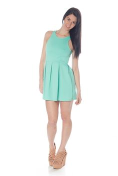 Racerback Scuba Dress - Mint.