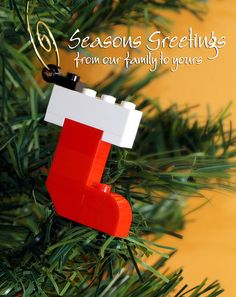 Looking to make some LEGO Christmas ornaments? Here are instructions for 5 simple LEGO Christmas ornament builds. Lego Christmas Ornaments, Christmas Stockings, Christmas Diy, Christmas Decorations, Legos, Christmas Projects, Christmas Crafts, Lego Tree, Lego Advent Calendar
