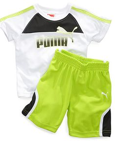 Puma Baby Set, Baby Boys Two-Piece Logo Tee and Shorts - Kids Baby Boy (0-24 months) - Macys