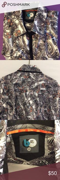 NEW AUTHENTIC b Rey Wearable Art Paisley Mens 2XL Authentic B Rey By CAVIAR DREMES Long Sleeve Dress Shirt •Style : # 57BR61      •Paisley Abstract Pattern          •Long Sleeve •Color : White Multi Color        •Suggested Retail Price $157.00 •55% Polyester 45% Rayon      •Size 2XL b Rey Shirts Casual Button Down Shirts
