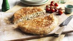 This Greek chicken pie is cooked in a frying pan for ease and speed. Try a slice as a light lunch or evening meal with a salad- maybe try with quorn chicken? Greek Recipes, Pie Recipes, Chicken Recipes, Cooking Recipes, Pastry Recipes, Buffet Recipes, Skillet Recipes, Chicken Meals, Lunch Recipes