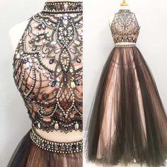 Long Prom Dress ,High Neck Prom Dress,Sleeveless Prom Dress ,Two Pieces Prom Dress ,Tulle Prom Dress,Charming Prom Dress,Party Dresses,Evening Dresses,PD0048