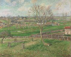 Philadelphia Museum of Art - Collections Object : The Field and the Great Walnut Tree in Winter, Eragny  Camille Pissarro