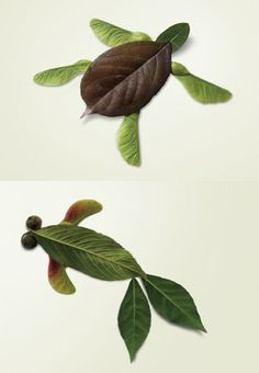 tinker with leaves - Animal Crafts Autumn Crafts, Autumn Art, Nature Crafts, Fall Leaves Crafts, Diy For Kids, Crafts For Kids, Leaf Animals, Deco Nature, Nature Activities