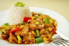 Kuřecí směs s kukuřicí, paprikou a pórkem Kung Pao Recept, Asian Recipes, Ethnic Recipes, Kung Pao Chicken, Chicken Recipes, Curry, Food And Drink, Low Carb, Cooking Recipes