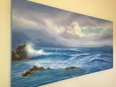 "Promise of Summer, oil on canvas 48x24"", captures a cloudy sunrise at Leo Carrillo Beach, California. #artforsalebyartist #linkinbio #oceansoftranquility #artcollector #interiordesign #livewithart #coastalart"