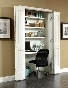 Tiny Space Office from Closet with Flat Bifolding Doors