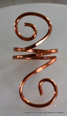 Scarf Slide or Napkin Ring  Copper Wire by ShawlPinHeaven on Etsy, $10.00