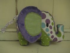 Patchwork Stuffed Elephant Soft and Plush Toy for Baby or Dog. $12.00, via Etsy.