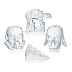 These Star Wars Ice Cube Trays make 6 oversized ice cubes. Choose to make a combination of AT-ATs and Star Destroyers or Darth Vader and Stormtrooper helmets.