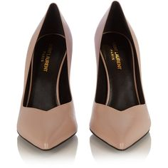 Saint Laurent Paris point-toe pumps ($595) ❤ liked on Polyvore featuring shoes, pumps, heels, pointed toe pumps, nude pink shoes, nude shoes, pointy-toe pumps and evening shoes