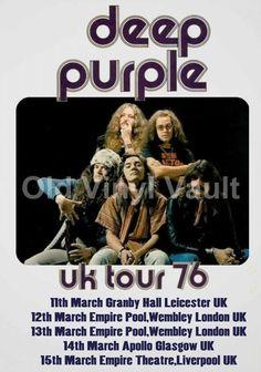 "Deep Purple Poster UK Tour Dates 1976 A3 Repro ""NEW"" Vintage Posters Uk, Vintage Concert Posters, Tour Posters, Band Posters, Event Posters, Black Sabbath, Playlists, Jon Lord, Heavy Metal"
