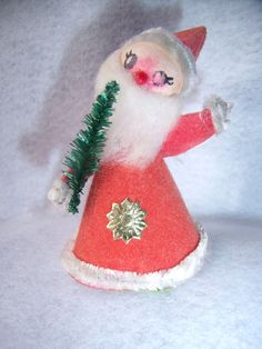 Vintage 50s 60s Spun Cotton Santa Ornament with Bottle Brush Mini Tree
