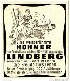 Original-Werbung/ Anzeige 1953 - HOHNER / LINDBERG MÜNCHEN - ca. 45 x 50 mm