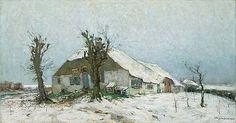 David SCHULMAN (Dutch painter, 1881 - 1966, Larense School): Besneeuwde boerderij / Snow-covered farm; oil on canvas | Studio 2000