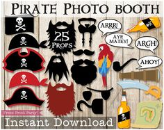 Pirate Photo Booth Props  Instant Download  by PressPrintParty