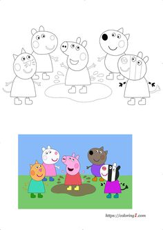 Peppa Pig Coloring Pages, Free Coloring Sheets, Free Printable Coloring Pages, Peppa Pig House, Peppa Pig Family, Peppa Pig Sports Day, Peppa Pig Swimming, Peppa Pig Games, Peppa Pig Happy Birthday