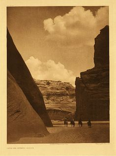 """Cañon del Muerto - Navaho, 1906.  Photogravure.  Curtis Caption:  """"This """"Cañon of the Dead"""" is a branch of Cañon de Chelly, deriving its name from having been the scene of the massacre of a band of Navaho by a troop of Mexican soldiers."""""""