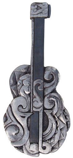 Ceramic wall art.  Guitar ceramic wall hanging.  www.gvega.com.