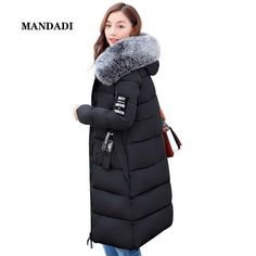 c0a2040a6b34 winter jacket women 2017 Fur Collar Hooded Parka coat women Cotton-Padded  Thicken Warm Long Jacket Female Plus size
